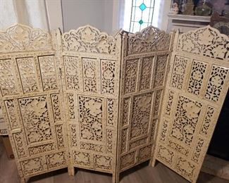 Fabulous American  Fireplace Screen - All hand carved Wood- Maple Leaf design- Very early piece
