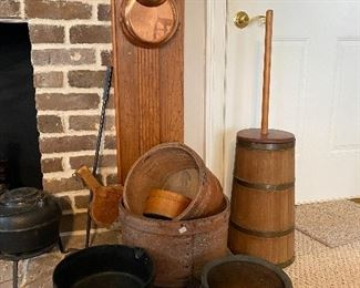 Butter churn and cast iron pieces