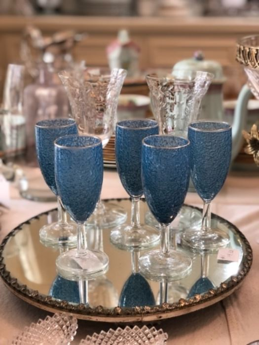 Crinkle glass champagne flutes