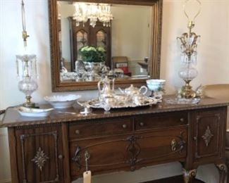 Buffet with silver plate tea service