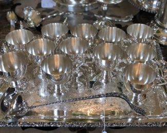 Silver plate punch cups and ladle