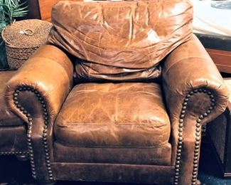 Brown Leather Chair Ottoman Included