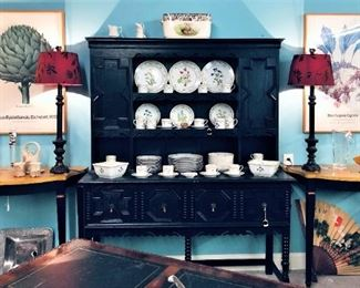 China Cabinet, Pair Red Lamps, China Etc.