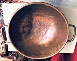 Copper Kitchen Bowl with Handles Early