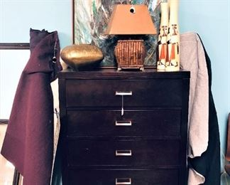 Fabric Bolts, Lamp, Chest of Drawers