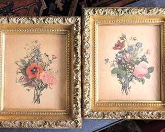 Gold Framed Floral Prints Pair
