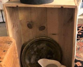Iron Pot, Pitcher, Crate