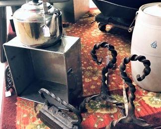 Kettle, Andirons, Sad Iron