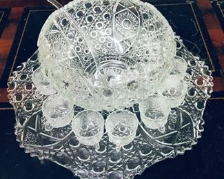 Punch Bowl, Tray, 12 Cups, Ladle
