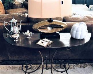 Wm Rogers Tea Set, Contemporary Lamp, Console Table