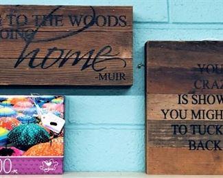 Wooden Signs, Umbrella Puzzle