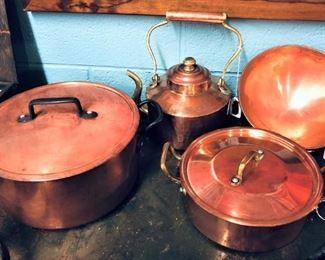 Copper Kettle and Lidded Pots