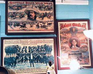 Framed Barnum Bailey and Wild West Prints, Aunt Jemima Cookie Jar