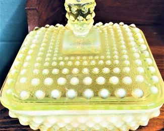 Imperial Glass Vaseline Candy Dish