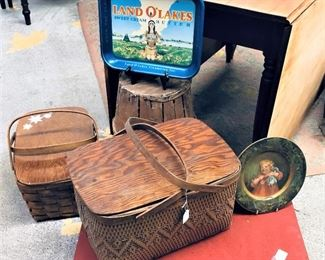 Picnic Baskets and Advertising Trays