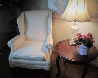 Wing Backed Chair, Round Side Table