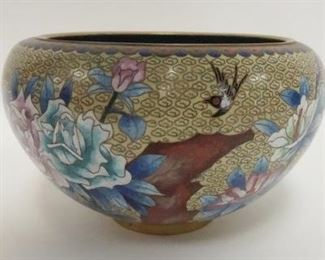 1003CLOISONNE BOWL W/FLORAL DESIGN SURROUNDING, APPROXIMATELY 5 1/4 IN HIGH X 8 1/2 IN WIDE