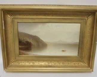1011JOHN WILLIAM CASILEAR OIL ON CANVAS, *SHAD FISHING ON LAKE GEORGE*, 18 IN X 10 1/4 IN IMAGE SIZE