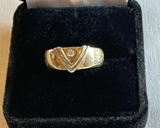$100.00................10k Gold Diamond Ring with Mayo Emblem, Size 7 (C217)