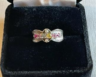 $100.00..................14k Gold Ring with Stones, Size 4 (C218)