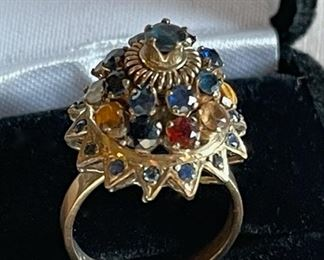 $200.00..........14k Gold Ring with Stones, Size 7 (C216)