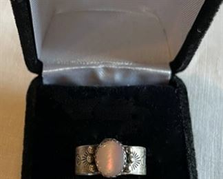 HALF OFF!  $25.00 NOW, WAS $50.00..................Vintage Sterling Ring with pink Moonstone, Ring Size 8 (C210)