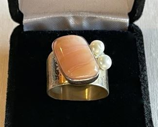 $80.00...............Vintage Sterling Ring with large Peach Stone and Pearls, Ring  Size 9 (C214)