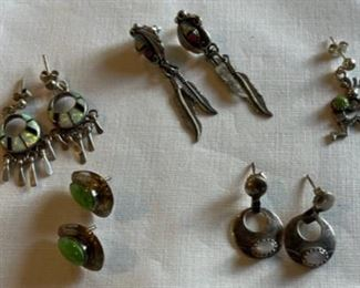 REDUCED!  $45.00 NOW, WAS $60.00....................Vintage Sterling Earrings lot and one Pendant (C207)