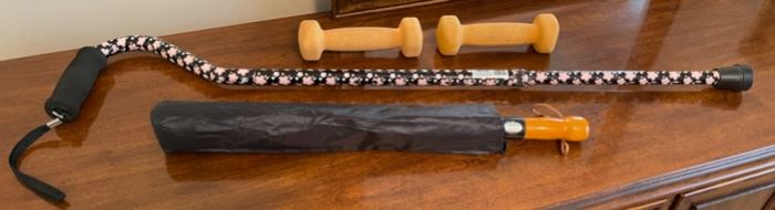 HALF OFF!  $6.00 NOW, WAS $12.00......................3 lbs weights, umbrella and cane (C177)