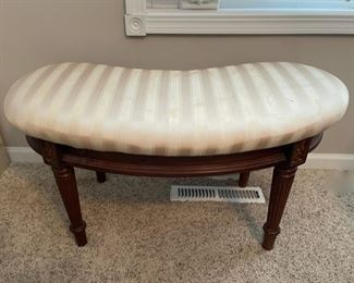REDUCED!  $37.50 NOW, WAS $50.00...................Kidney Shaped Bench, fabric has some stains needs (C164)