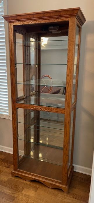 "HALF OFF!  $22.50 NOW, WAS $45.00......................Oak Curio Cabinet ***Missing Glass in Front top half, 25 1/2"" x 14"", 70"" tall (C151)F"