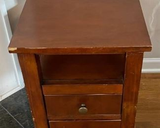 "$25.00.................End Table, shows some wear 24"" x 14"", 24"" tall (C147)"