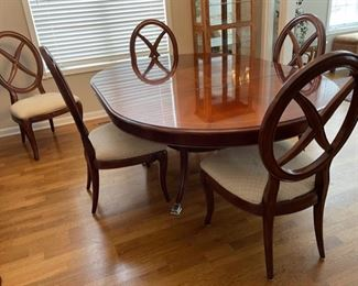 "HALF OFF!  $600.00 NOW, WAS $1,200.00.......Thomasville Table and 5 Chairs, measures  53"" x 53"", one 24"" leaf , has a few small wear spots on top table, chairs could use recovering,  was $3,600.00 new  (C152)F"
