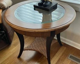 "HALF OFF!  $75.00 NOW, WAS $150.00....................Small SOLID End Table with Beveled Glass 28"" diameter, 24"" tall (C146)"