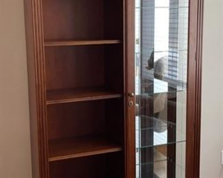 "$300.00...............Cherry Curio Bookcase with Mirror 40"" x 13"", 78"" tall (C150)"
