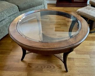 "HALF OFF!  $100.00 NOW, WAS $200.00................ SOLID Coffee Table with beveled glass 39"" diameter, 20"" tall (C145)F"