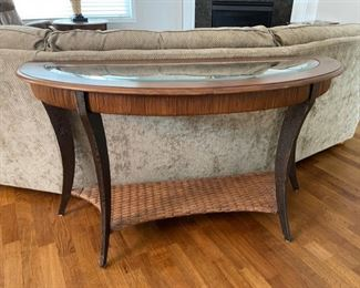 "HALF OFF!  $100.00 NOW, WAS $200.00....................SOLID Sofa Console Table with Beveled Glass 51"" x 19"", 30"" tall (C148)"