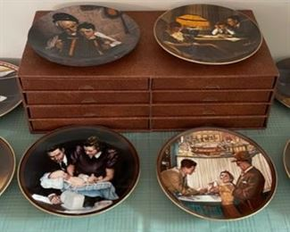 CLEARANCE !  $20.00 NOW, WAS $80.00...............8 Norman Rockwell Plates and Holder (C115)