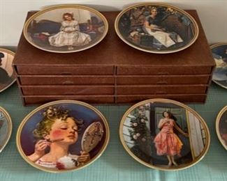 CLEARANCE !  $20.00 NOW, WAS $80.00...................8 Norman Rockwell Plates and Holder (C116)