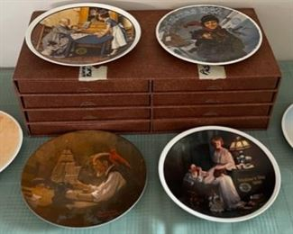 CLEARANCE !  $15.00 NOW, WAS $60.00..................6 Norman Rockwell Plates and Holder (C117)