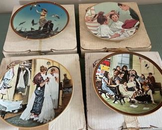 HALF OFF!  $20.00 NOW, WAS $40.00...................4 Norman Rockwell Plates w/boxes (C113)