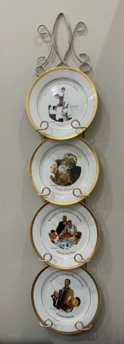 HALF OFF!  $22.50 NOW, WAS $45.00.........................4 Norman Rockwell Plates and Hanger (C099)F
