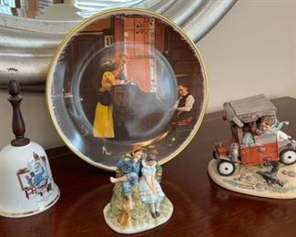 CLEARANCE !  $5.00 NOW, WAS $20.00......................Norman Rockwell plate and figurines no boxes (C086)