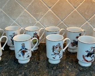 CLEARANCE !  $8.00 NOW, WAS $30.00....................Set of 10 Norman Rockwell Mugs (C053)