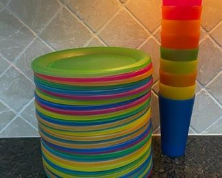 REDUCED!  $18.75 NOW, WAS $25.00...........................34 Plastic plates and 9 cups, do show some wear (C031)