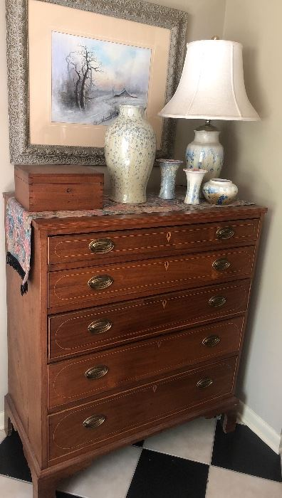 Early Walnut 5 Graduated  Drawers Inlaid Chest Stephens Crystalline Pottery