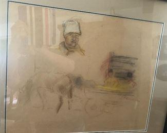Sketch signed Renoir