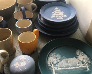 Several Stacks of Carolina Cameo Plates