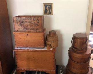 ADVERTISING BOXES/BLANKET CHESTS/FIRKINS