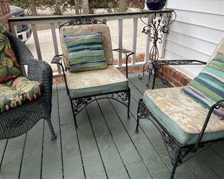 Lots of metal and other outdoor decor and furniture